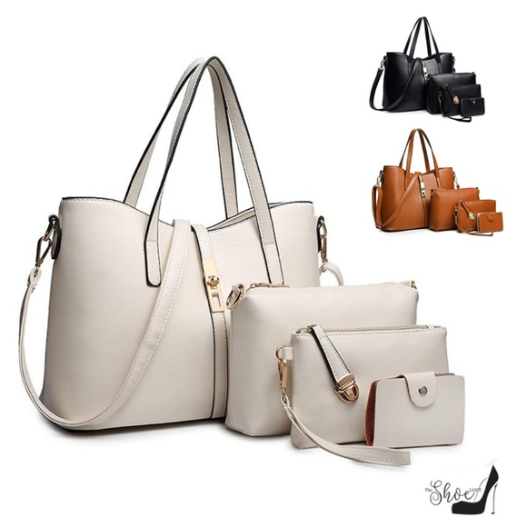 My Bag Lady Online Handbags - Taupe Travel Work Lunch Satchel Handbag Tote Set